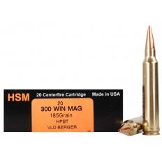 HSM Trophy Gold .300 Winchester Magnum 185 Gr. Berger Hunting VLD Hollow Point Boat Tail- Box of 20