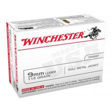 Winchester USA 9mm Luger 115 Gr. FMJ- Box of 100
