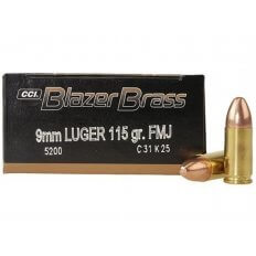 CCI Blazer Brass 9mm Luger 115 Gr. FMJ- Box of 50