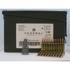Federal 5.56x45mm 55 Gr. NATO XM193 Full Metal Jacket Boat Tail- 10 Round Clips in Ammunition Can of 420 (14 Boxes of 30)