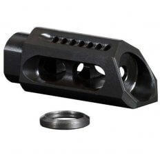 Yankee Hill Machine AR-15 Slant Muzzle Brake- Melonite QPC Matte Black Finish Steel with Crush Washer