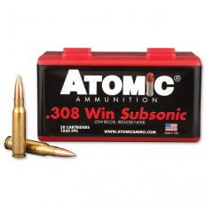 Atomic .308 Winchester 175 Gr. Hollow Point Boat Tail Subsonic- 00430