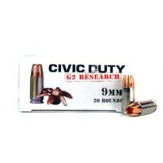 G2 Research Civic Duty 9mm Luger 100 Gr. Solid Copper Projectile- Lead Free- 00602