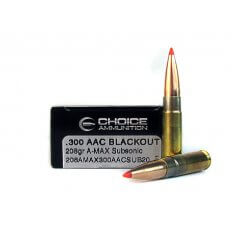 Choice Ammunition .300 AAC Blackout 208 Gr. Hornady A-Max Boat Tail- Subsonic- 208AMAX300AACSUB