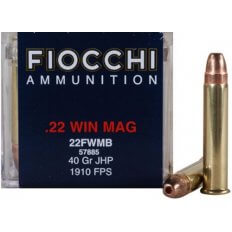 Fiocchi Shooting Dynamics .22 Winchester Magnum Rimfire (WMR) 40 Gr. Jacketed Hollow Point- 22FWB