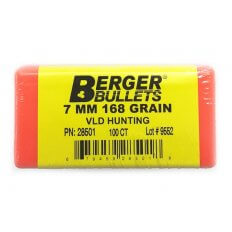 Berger Bullets 7mm Caliber (.284 Diameter) 168 Gr. Hunting VLD Hollow Point Boat Tail- 28501