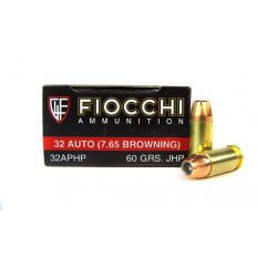 Fiocchi Shooting Dynamics .32 ACP 60 Gr. Jacketed Hollow Point- 32APHP
