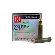 Hornady Steel Match .223 Remington 75 Gr. Hollow Point Boat Tail- Steel Case- 80261