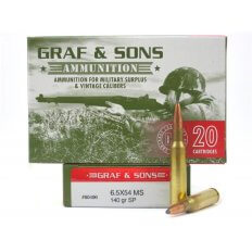 Graf & Sons Hornady 6.5x54 Mannlicher- Schoenauer 140 Gr. Soft Point- 80496