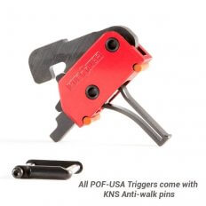 POF AR-15 Drop-In Single Stage Straight Trigger 3.5 lbs with KNS Anti-Walk Pins- Red