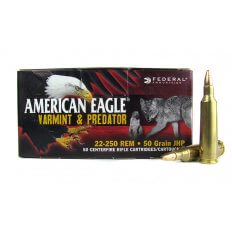 Federal American Eagle Varmint & Predator .22-250 Remington 50 Gr. Jacketed Hollow Point- AE2225050VP