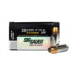 SIG SAUER Elite Performance .38 Super +P 125 Gr. V-Crown JHP- E38SU1