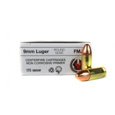 Homeland Munitions 9mm Luger 115 Gr. Round Nose Full Metal Jacket- H9MML-CASE