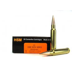 HSM Trophy Gold .338 Winchester Magnum 300 Gr. Berger Hybrid Open Tip Match Tactical- HSM-338WM300OTM