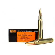 HSM Trophy Gold .340 Weatherby Magnum 250 Gr. Berger Hybrid Open Tip Match Tactical- HSM-340WBY250OTM