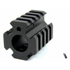 "AR15 Low Profile Gas Block .750"" Diameter with Quad Picatinny Rails- Aluminum Black- MAR004"