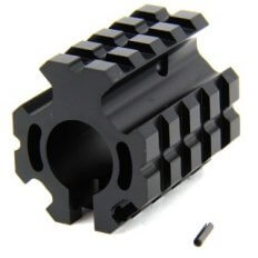 "AR15 Low Profile Clamp-on Gas Block .750"" Diameter with Quad Picatinny Rails- Aluminum Black- MAR005-L"