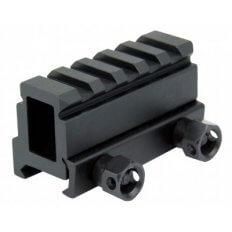 "AR15 Picatinny Riser Mount 1.1"" Height 5-Slot with Thumb Screws- Black- MAR028"