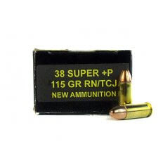 PCI .38 Super +P 115 Gr. Round Nose Total Copper Jacket- PC38SUP