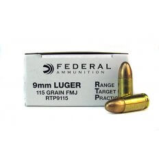 Federal Range Target Practice (RTP) 9mm Luger 115 Gr. Full Metal Jacket RTP9115