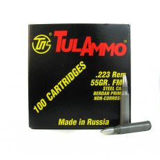 TulAmmo .223 Remington 55 Gr. FMJ (Bi-Metal) Steel Case Berdan Primed-  T223100