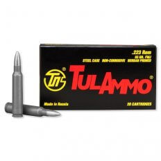 TulAmmo .223 Remington 55 Gr. FMJ (Bi-Metal) Steel Case Berdan Primed- TA223550