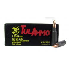TulAmmo 7.62x39mm 124 Gr. FMJ (Bi-Metal) Steel Case Berdan Primed- UL076209