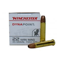 Winchester Dynapoint .22 Winchester Magnum Rimfire (WMR) 45 Gr. Plated Lead Hollow Point- Box of 50 USA22M