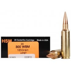 HSM Trophy Gold .300 Winchester Short Magnum (WSM) 185 Gr. Berger Hunting VLD Hollow Point Boat Tail- Box of 20