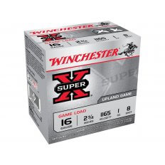 "Winchester Super-X Game Loads 16 Gauge 2-3/4"" 1 oz #8 Shot- Box of 25"