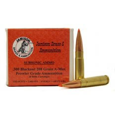 Jamison Prowler Grade .300 AAC Blackout 208 Gr. Hornady AMAX- Subsonic- Box of 20