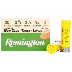 "Remington Gun Club Target 20 Gauge 2-3/4"" 7/8 oz #8 Shot- Box of 25"