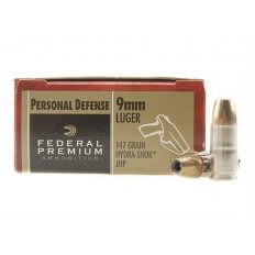 Federal Premium Personal Defense 9mm Luger 147 Gr. Hydra-Shok Jacketed Hollow Point- Box of 20