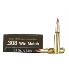 Black Hills Gold .308 Winchester 168 Gr. Hornady A-Max- Box of 20