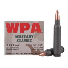 Wolf Military Classic .223 Remington 55 Gr. Full Metal Jacket (Bi-Metal) Steel Case Berdan Primed- Box of 20