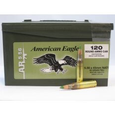 Federal American Eagle 5.56x45mm 62 Gr. M855 SS109 Penetrator FMJ- Plastic Ammo Can of 120