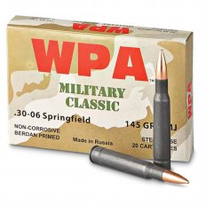 Wolf Military Classic .30-06 Springfield 145 Gr. FMJ (Bi-Metal) Steel Case Berdan Primed- Box of 20