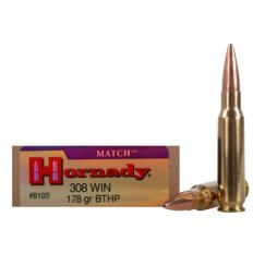 Hornady Match .308 Winchester 178 Gr. Boat Tail Hollow Point- Box of 20