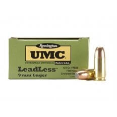 Remington UMC LeadLess 9mm Luger 124 Gr. Flat Nose Enclosed Base -Box of 50