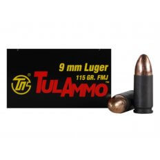 TulAmmo 9mm Luger 115 Gr. FMJ (Bi-Metal) Steel Case Berdan Primed- Box of 50