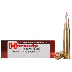 Hornady SUPERFORMANCE GMX .338 Winchester Magnum 185 Gr. GMX Boat Tail- Lead-Free- Box of 20