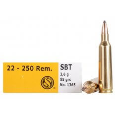 Sellier & Bellot .22-250 Remington 55 Gr. Sierra GameKing Spitzer Boat Tail- Box of 20