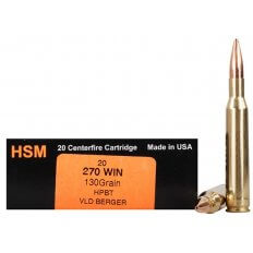HSM Trophy Gold .270 Winchester 130 Gr. Berger Hunting VLD Hollow Point Boat Tail- Box of 20