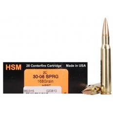 HSM Trophy Gold .30-06 Springfield 168 Gr. Berger Hunting VLD Hollow Point Boat Tail- Box of 20
