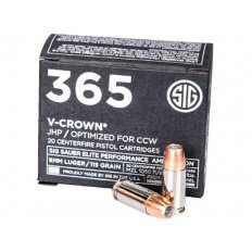 SIG SAUER 365 Elite Performance 9mm Luger 115 Gr. V-Crown JHP E9MMA1-365-20