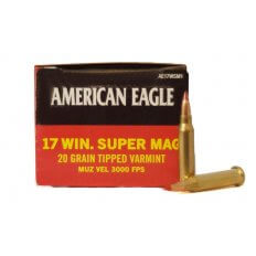 Federal American Eagle .17 Winchester Super Magnum 20 Gr. Tipped Varmint- Box of 50