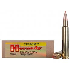 Hornady Custom .300 Weatherby Magnum 165 Gr. GMX Boat Tail- Lead-Free- Box of 20