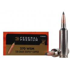 Federal Premium Vital-Shok .270 Winchester Short Magnum (WSM) 130 Gr. Trophy Copper Tipped Boat Tail- Lead-Free- Box of 20