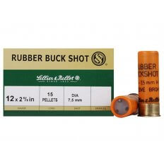 "Sellier & Bellot 12 Gauge 2-5/8"" 7.5mm Rubber Buckshot 15 Pellets- Box of 25"