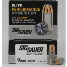 SIG SAUER Elite Performance 9mm Luger 124 Gr. V-Crown JHP- Box of 20